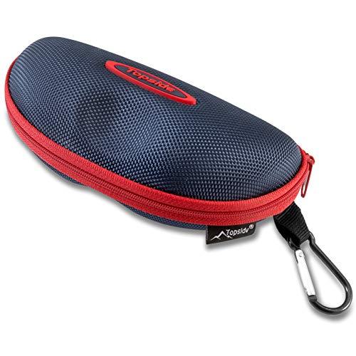 Funda gafas rígida (negro, azul o rojo). Apertura y cierre con cremallera, mosquetón para enganchar.