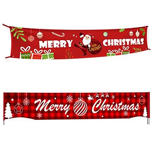 JWDYA 2 stücke Frohe Weihnachten Banner Weihnachtsdekorationen for Home Outdoor Store Banner Flagge Ziehen (Color : A, Size : As The Picture Shows)