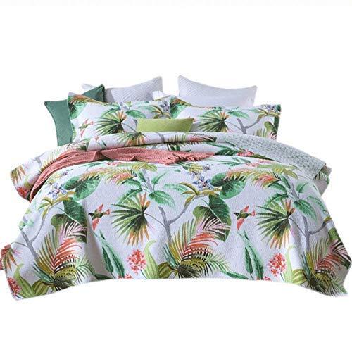 Edredón de colcha estilo selva tropical 100% algodón acolchado cubrecama King Size 230x250cm Funda de cama 3 piezas Decoración de ropa de cama Manta de cama multifunción con fundas de almohada 50x70cm