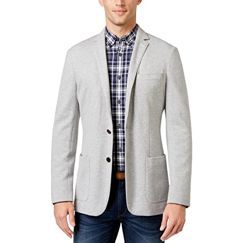 Michael Kors Mens Textured Two Button Blazer Jacket, Grey, 44 Regular