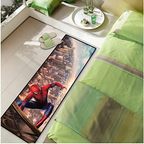 xuejing Alfombra Larga Marvel Cocina Baño Dibujos Animados Anime Spiderman Balcón Dormitorio Cabecera Decoración del Hogar Alfombrilla Absorción De Agua Antideslizante