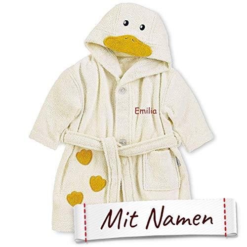 LALALO Sterntaler Ente Edda Kapuzen-Bademantel mit Namen Bestickt für Baby & Kinder, 100% Baumwolle, Kinderbademantel personalisiert mit Name für Mädchen/Jungen, Farbe Ecru/Gelb (86/92)
