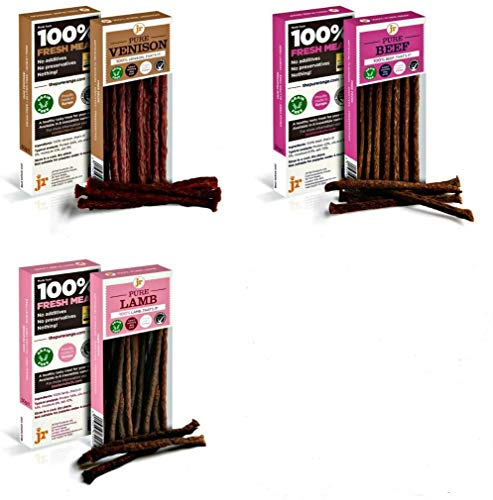 J R Pet Products 3 x 50g RED MEAT Variety Pure Dried 100% Fresh Meat Sticks Dog Treat Gluten & Grain Free (Venison Beef Lamb)