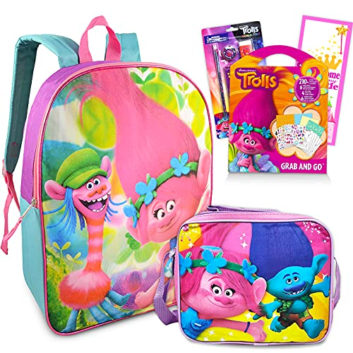 Trolls World Tour School Backpack Set For Girls ~ 5 Pc Bundle With 16' Poppy Trolls School Bag, Lunch Box, School Supplies Set, Stickers, and More | Trolls Accessories Travel Bag