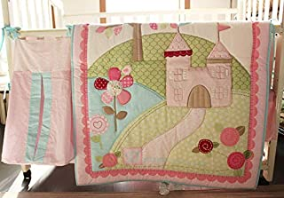 9-Piece Crib Bedding Baby Sets Cotton Floral Castle with Clouds Embroidery Nursery Bedding Set Crib Bedding Quilt Sets with Bumpers for Baby Princess Girl Light Pink