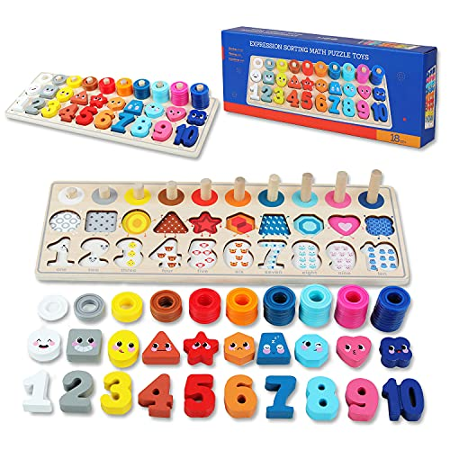 QZMTOY Wooden Montessori Toys for Kids, Toddler Number Puzzles Sorter Counting Shape Stacker Stacking Game Preschool Toys for Boy Girl Learning Education Math Blocks Chunky Puzzles Gift for Toddlers