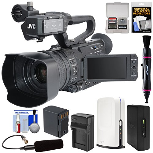 JVC GY-HM170U Ultra 4K HD 4KCAM Professional Camcorder & Top Handle Audio Unit with XLR Microphone + SlingStudio Hub Unit & CameraLink + Battery & Charger + Kit