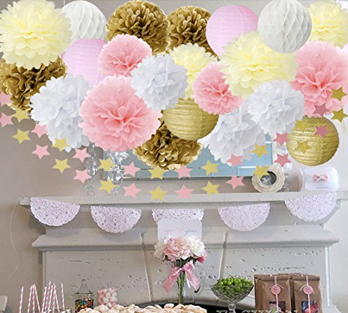 Wcaro Pink Gold Cream White Tissue Paper Pom Poms Paper Lantern Paper Star Garland Tissue Paper Honeycomb Ball Baby Shower Decorations Nursery Decorations Bridal Shower