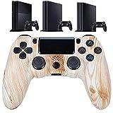 QLOVE Apoyo Bluetooth Joystick para PS4 Controlador de Mando para ps4 Consola para Playstation 4 Gamepad para PS3 PS4 Slim/PS4 Pro PC,Wood Texture