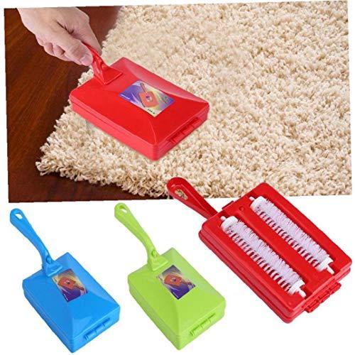 Byfri Doppelbürste Hand Teppichkehrer Crumb Dirt Pinselreiniger Collector zufällige Farbe