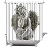 ArtBones Angel Shower Curtain Baby with Angel Wings Bath Curtain Cloth Fabric Kids Children Bathroom Decor Set with Hooks 72x72inch White