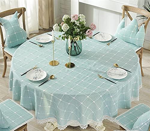Cozomiz Tela de lino de algodón embroidey con dobladillos de encaje para mesa redonda cubierta protectora Tapiz moderno mantel decorativo verde Diámetro: 58 pulgadas