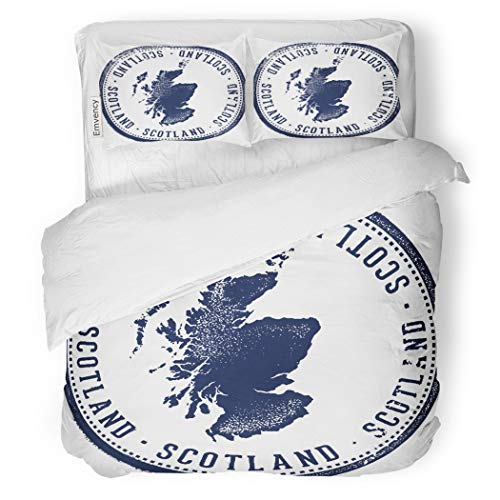 SanChic Duvet Cover Set Passport Vintage Scotland Country Stamp Scottish Culture Dirty Decorative Bedding Set with 2 Pillow Cases Full/Queen Size