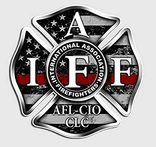 "1pk IAFF Thin Red Line Decal Distressed Flag Firefighter Cross Badge Sticker (4"" х 4"")"