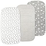 Baby Bassinet Sheets Set, 3 Pack Fitted Sheets for Bassinet Mattress, Bassinet Sheet for Baby Boy Girl, Universal Fitted Sheets for Rectangle, Oval and Hourglass Mattress, Grey