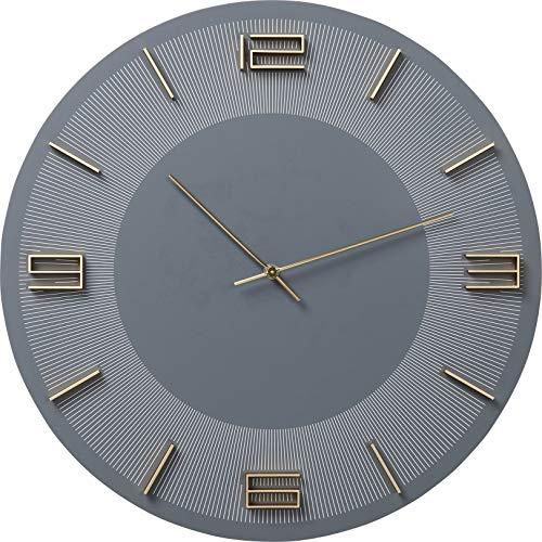 Kare Design Wanduhr Leonardo Grau/Gold, runde Uhr als Accessoire für das Esszimmer und Wohnzimmer, mit goldenen Ziffern und blauem Hintergrund, Wanduhr im Retro Look (H/B/T) 48,5x48,5x4,5cm