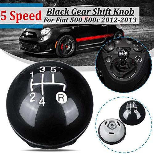 5 Speed MT Auto Gear Shift Knop Stick Met Stofafdekking Sitck Hoofd Lederen Glans Zwart, Voor Fiat 500 500c 2012 2013