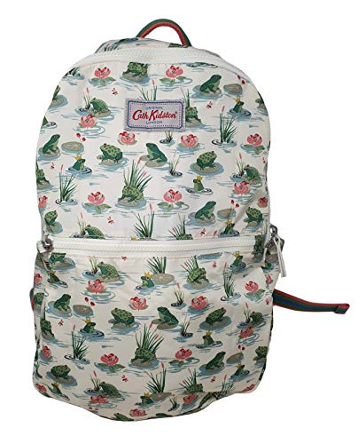 Cath Kidston Bathing Frogs Foldaway Backpack Rucksack in Warm Cream Polyester
