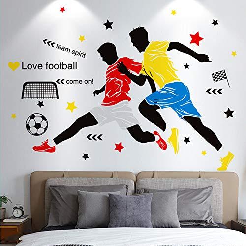 Adesivo da parete per camera da letto, motivo: palloni da calcio, decorazione da parete 92 x 130 cm idea regalo per gli amanti del calcio