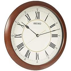 Seiko 16 Roman Numeral Round Wood Finish Wall Clock