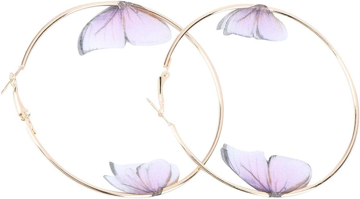 Holibanna 1 Pair Big Hoop Earrings Plated Rounded Hoops Earrings Chiffon Fabric Earrings Boho Jewelry for Lady Girl Colorful