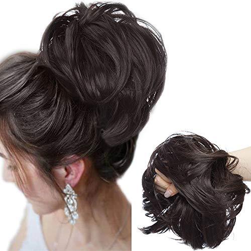 Große Haarteil Haargummi Extensions Messy Bun Dutt Hochsteckfrisuren Voluminös Haarverlängerung mit Gummiband (80G) Dunkelbraun