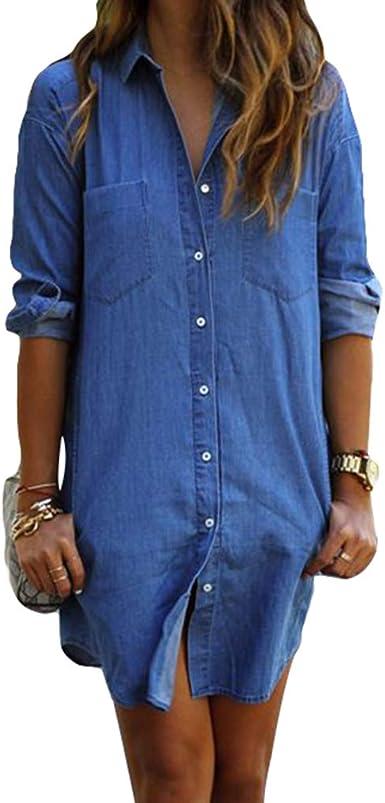 junkai Camisa De Mujer Vestido De Mezclilla Túnica Jean Botón Manga Larga Mini Vestido Camisa Corta Blusas