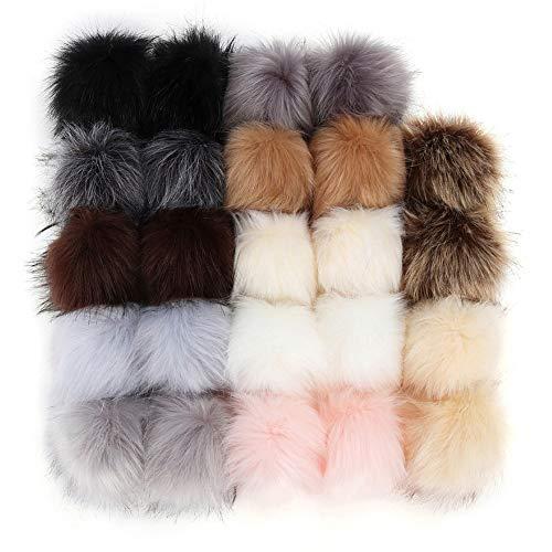 24 pompones de piel de zorro sintético para manualidades, pompones de pelo,...