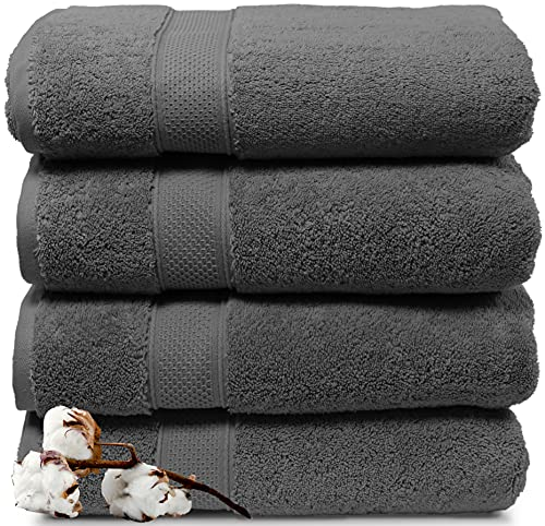 """Maura 4 Piece Bath Towels. Extra Large 30""""x56"""" Premium Turkish Towel Sets. Thick, Soft, Plush and Highly Absorbent Luxury Hotel & Spa Quality Towels for Bathroom - Space Gray"""