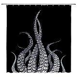 Feierman Octopus Duschvorhang Kraken Tentakel Marine Monster schwarz Vintage Polyester Wasserdicht Badezimmer Decor Set mit Haken, 177,8 x 177,8 cm