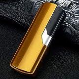 papuca 電子ライター USB 小型 電式 軽量 LED 防風 防水 メタルライター 葉巻ライター 残りのバッテリーを示 無火炎 高級感 プレゼント 贈り物 アウトドア キャンプ 登山 防災 地震対策 停電時などに適用(ゴールド)