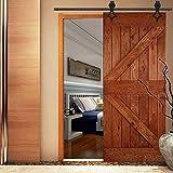 QINAIXQM 9FT/275cm Kit de accesorios para puerta de granero traslacional de servicio pesado, resistente y duradero, adecuado para una sola puerta de madera, negro antiguo(Forma diamante)