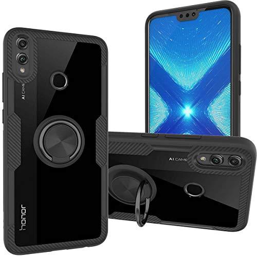 KUAWEI Honor 8X Hülle Honor 8X Handyhülle Hülle Cover Transparente Premium Back Cover mit Ständer Funktion & Auto Halterung Funktion für Honor 8X 6.5 (Schwarz)