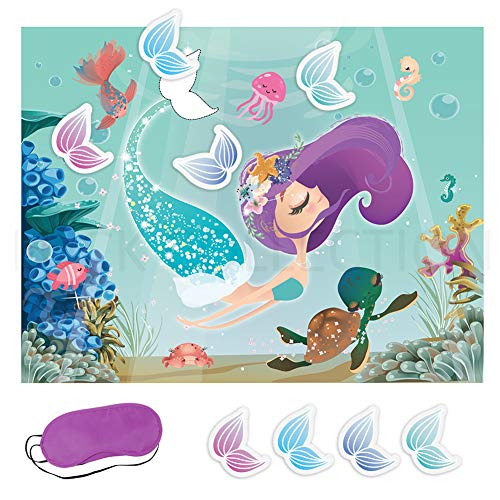 KREATWOW Pin The Tail On The Mermaid Party Game Under The Sea Party Games for Kids Mermaid Party Supplies