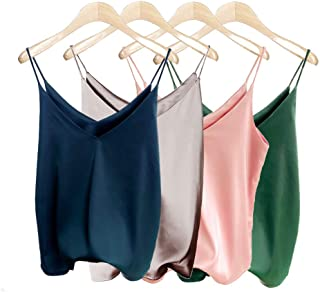 Van Royal Womens Camisole Tops Tees Tank Ladies Cami Tops Soft Satin Sexy V Neck Crop Top Elegant