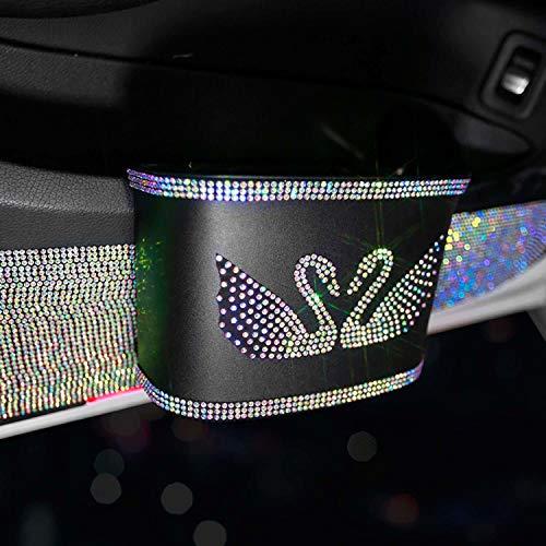 VNASKH Asiento de Coche Organizador Trasero Almacenamiento Diamante de imitación Auto Basura Bote de Basura Automotriz Portátil Brillante Bling