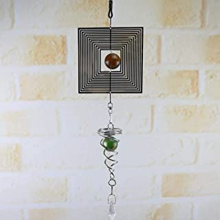 YUIOLIL 3D Metal Hanging Wind Spinner Wind Chime Glass Ball Center Iglesia Decoración