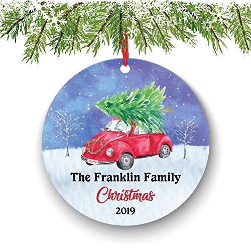 onepicebest Adorno de Navidad personalizado para familia, regalo de anfitriona, regalo de inauguración de la casa, adorno de Navidad, adorno rojo vintage, decoración del hogar, 7,6 cm