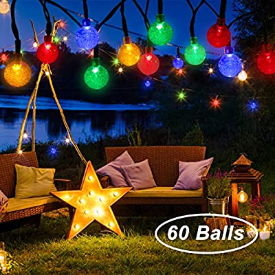 Beinhome Outdoor Solar String Lights 36FT 60 LED 8 Modes Solar Globe String Lights, Waterproof Multi Color Changing Solar Fairy Lights Decorative for Garden, Patio, Yard, Wedding, Party