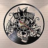Fantasy Old School Art Tattoo Studio Wall Sign Silent Vinyl Record Reloj de Pared Calavera con Reloj de Flores Wall Art Decor Hipster Men Gift