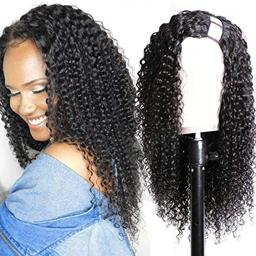 Nadula Hair U Part Jerry Curly Wigs Virgin Brazilian Human Hair Curly U Shape Wigs Remy Hair Non Lace Wigs With Straps Combs Clip in Half Wig for Black Women 150% Density Natural Color (16 inch)
