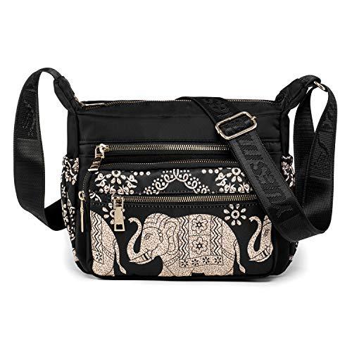 Bolso Bandolera Mujer con Elefante - Elegante Bolso de Hombro - Bolsa de Cuerpo Cruzado de Nylon - Bolsa de Mensajero de Viajar Compras (Elefante 3)