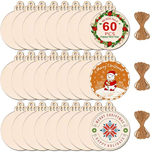 Max Fun 60PCS 3.5' DIY Wooden Christmas Ornaments Unfinished Predrilled Wood Slices Circles for Crafts Centerpieces Holiday Hanging Decorations