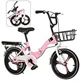 YRYBZ Bicicleta de Montaña Plegable, 16 Pulgadas Bicicleta Juvenil, Bicicleta Infantil, Bici para Niños y Niñas, Montar al Aire Libre/Rosa