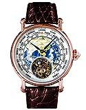 SUEARTHG - Orologio da uomo con movimento Tourbillon Gabbiano Genuino ST8000 con quadrante in Terra smaltato, stile rosegold
