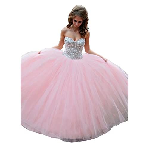 a3fe5880ff3 Eldecey Women s Sweetheart Crystals Strapless Ball Gown Quinceanera Dress