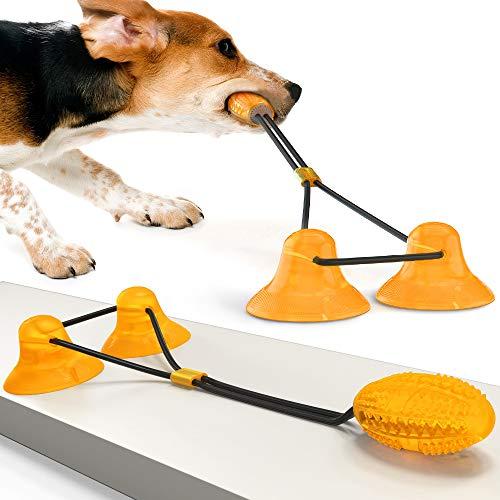 Juguete Perro Ventosa, Juguete para perro con 2 ventosa, Juguete Para Mordedura De Molar Para Mascotas, elástico para Masticar Perros, Seguro para el Cuidado Dental para Perros y Cachorros (naranja)