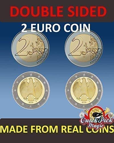QUICK PICK MAGIC PAR DE Real Doble Cara Dos Euro Moneda [1 Dos Caras y 1 Dos Cruz Dos Euro Moneda]