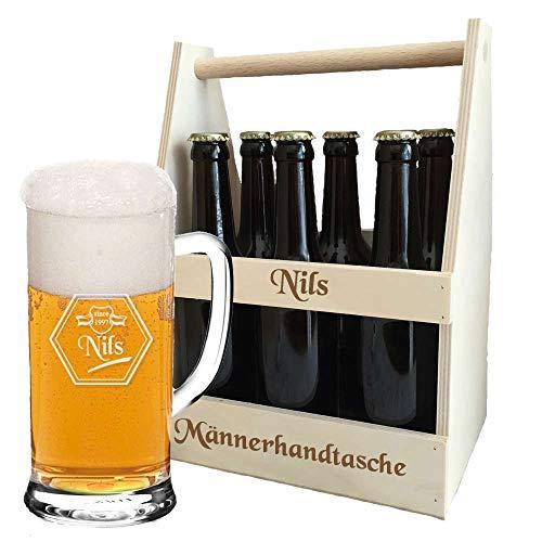 Bierkrug + Flaschenträger + kostenlose Gravur = Bier-Set als Geburtstagsgeschenk | personalisierte Geschenkidee für Biertrinker | Bierträger graviert | Bierglas (B2)