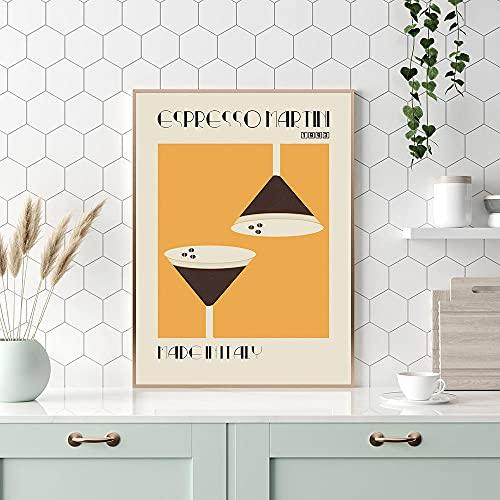 HNZKly Dibujos Animados Espresso Martini Poster Acuarela Delicadeza Pared Arte Impresiones Delicioso Comida Lienzo Cuadros Restaurante Cuadros Cocina Comedor NóRdico Decoracion 50x70cm Sin Marco